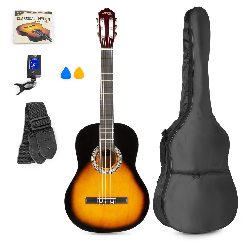 Chitară clasică, geantă de transport, negru/maro, MAX SoloArt