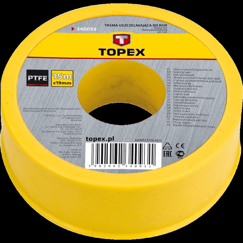 Banda teflon pt tevi, 15 m x 19 mm x 0.2 mm, Topex