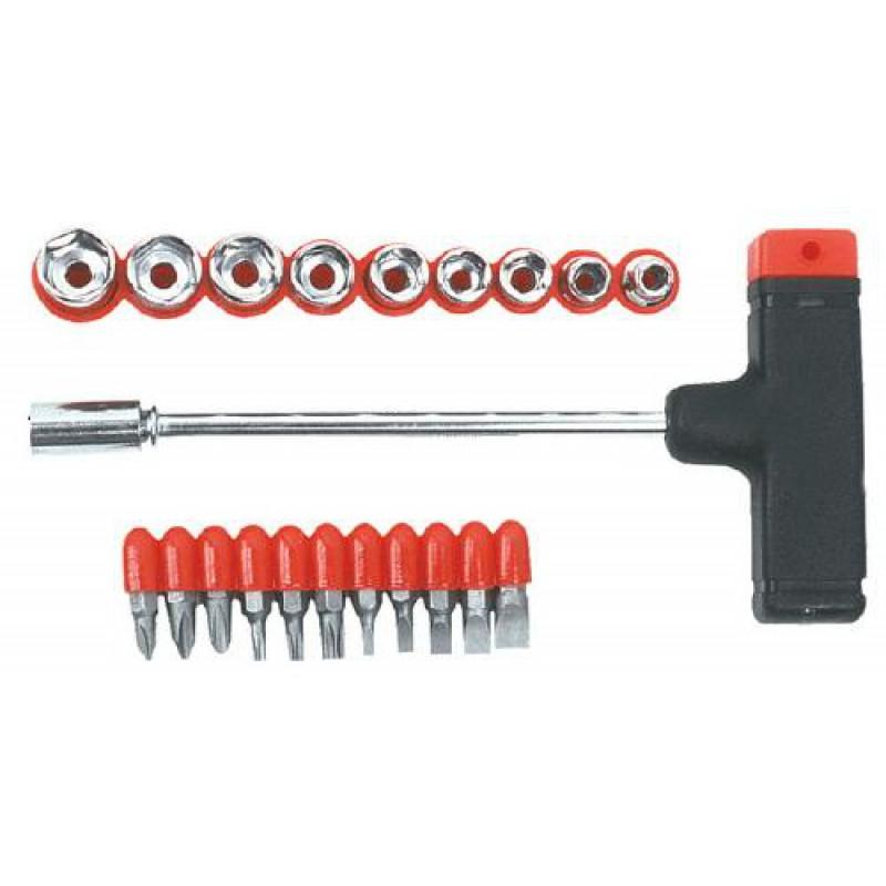 Set surubelnita-varfuri si tubulare cu maner, 21 buc, Top Tools