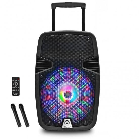 "Idance Boxa portabila acumulator Li-Ion 2x microfon wireless 12"" Bluetooth 150W RMS"