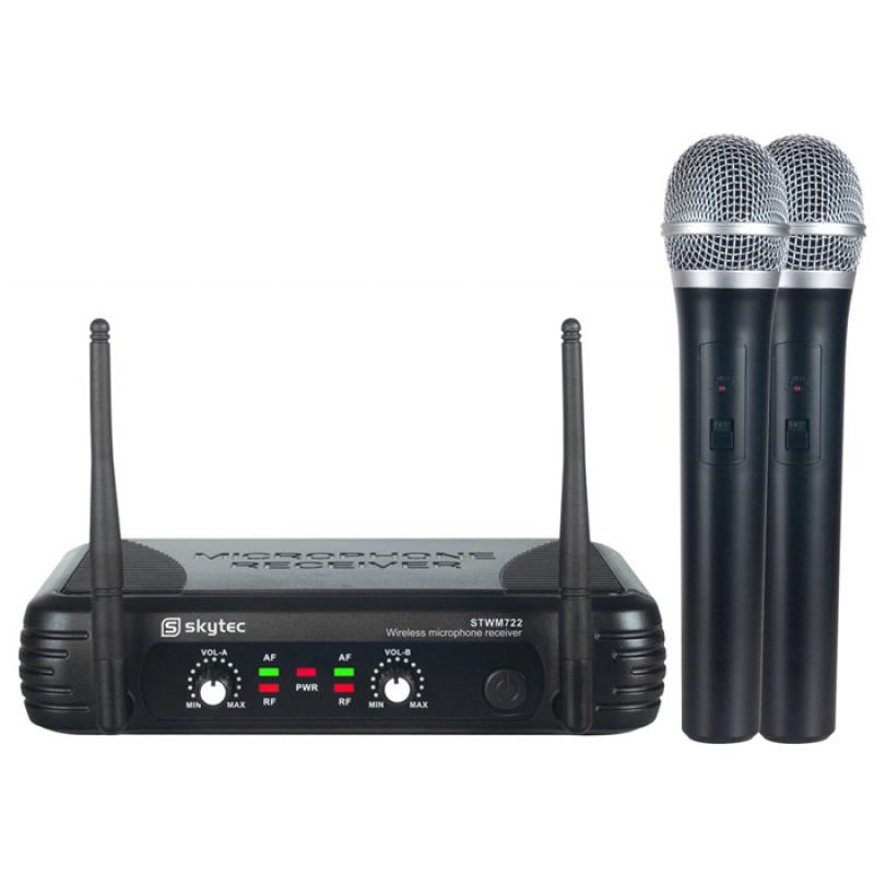 STWM722 Microfon fara fir cu 2x microfoane de mana UHF Skytec