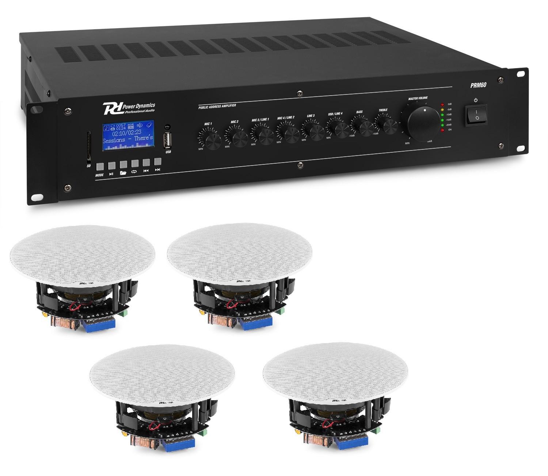 "KIT DE SONORIZARE: Amplificator mixer cu 6 canale, 100V, 60W RMS, Power Dynamics PRM60 + 4x Difuzoare de tavan 100V, 2 căi, 20W RMS, 5.25"", Power Dynamics FCS5"