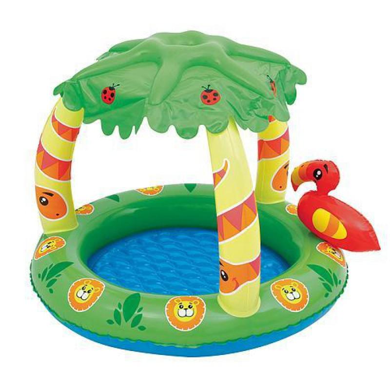 Piscina gonflabila pt copii, cu acoperis, 99x91x71 cm, 27l, Bestway Friendly Jungle