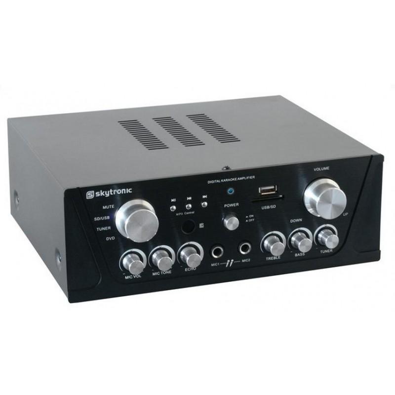 Amplificator karaoke FM/USB/SD/Rem negru