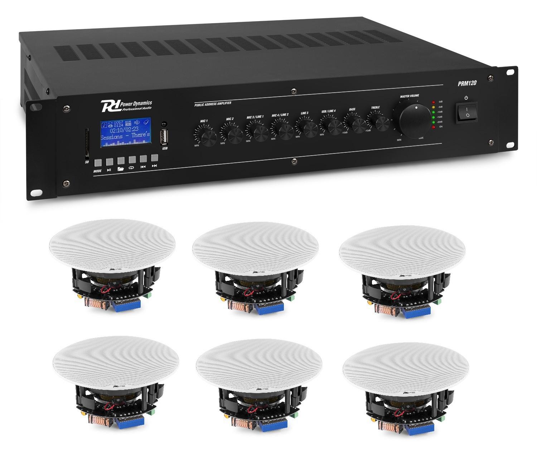 "KIT DE SONORIZARE: Amplificator mixer cu 6 canale, 100V, 120W RMS, Power Dynamics PRM120 + 6x Difuzoare de tavan 100V, 2 căi, 20W RMS, 5.25"", Power Dynamics FCS5"