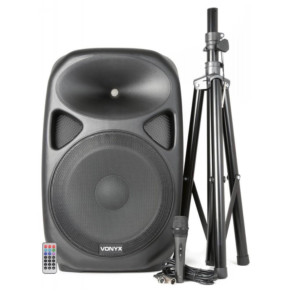 "Boxa activa 15""  250W RMS USB/MP3/BT/Radio+ stativ + microfon cu fir"
