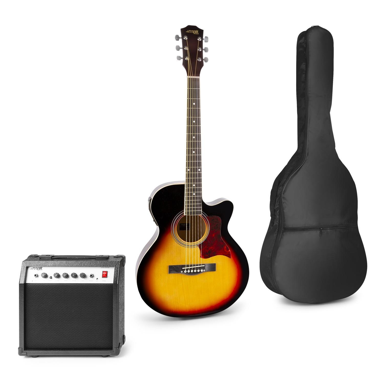 Set chitară acustică electrică + amplificator 40W + geantă de transport, maro, MAX Showkit