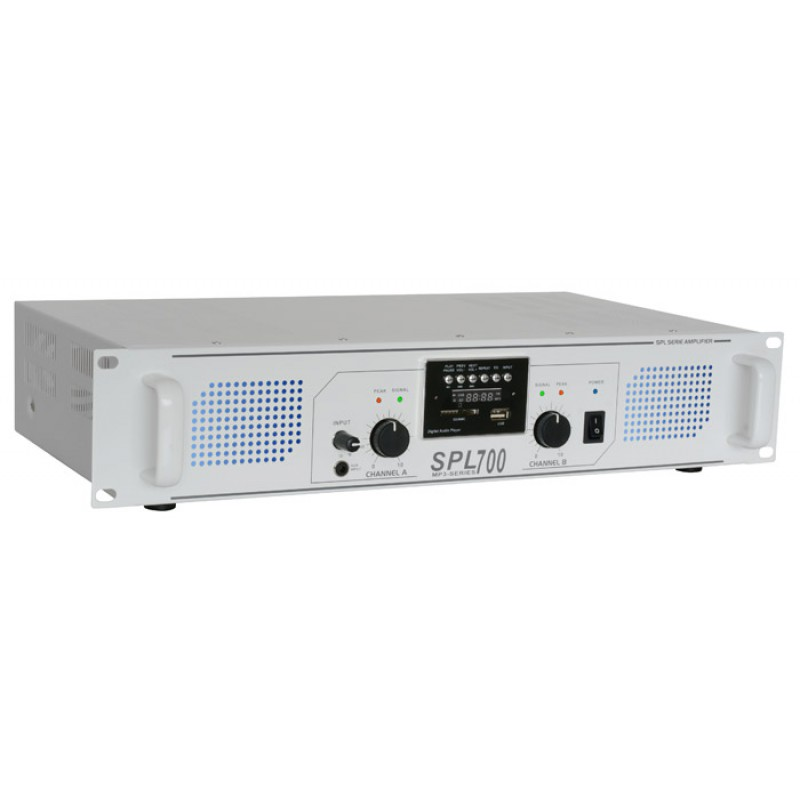 SPL700MP3 Amplificator cu LED albastru USB/MP3 Skytec