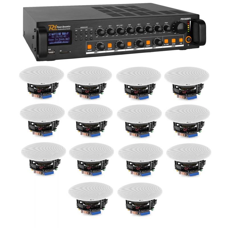 "KIT DE SONORIZARE: Amplificator mixer pe 4 zone, 100V, 360W, Bluetooth/USB/SD, Power Dynamics PDV360MP3 + 6x Difuzoare de tavan 100V, 2 căi, 20W RMS, 5.25"", Power Dynamics FCS5"