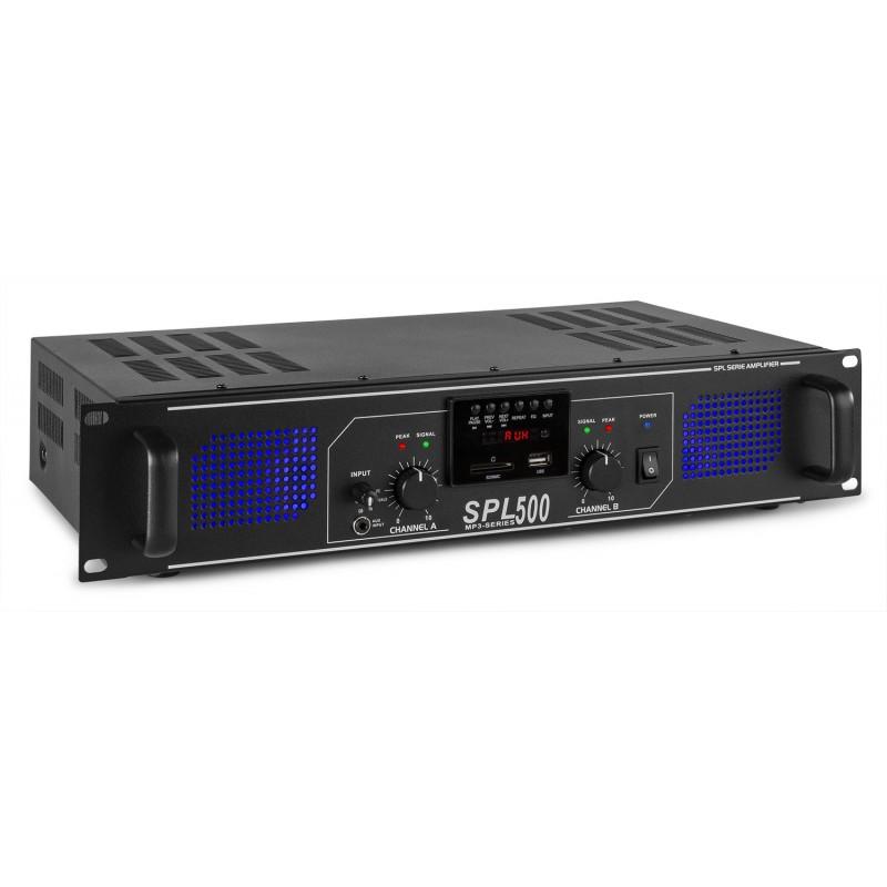 Amplificator, 2x250W, USB/SD, Skytec SPL500MP3
