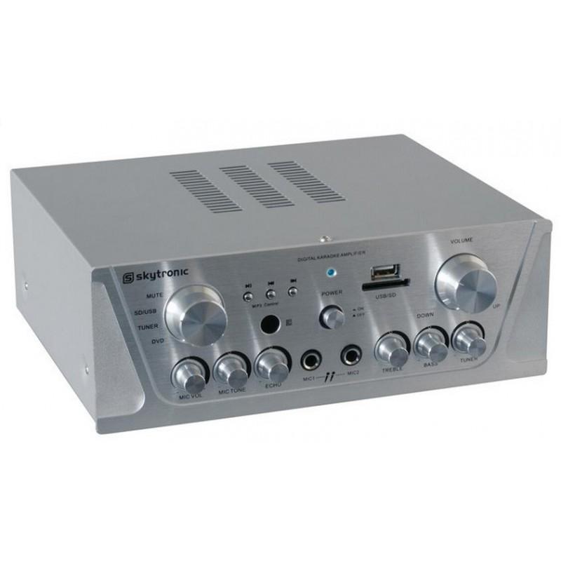 Amplificator karaoke FM/USB/SD/Rem argintiu