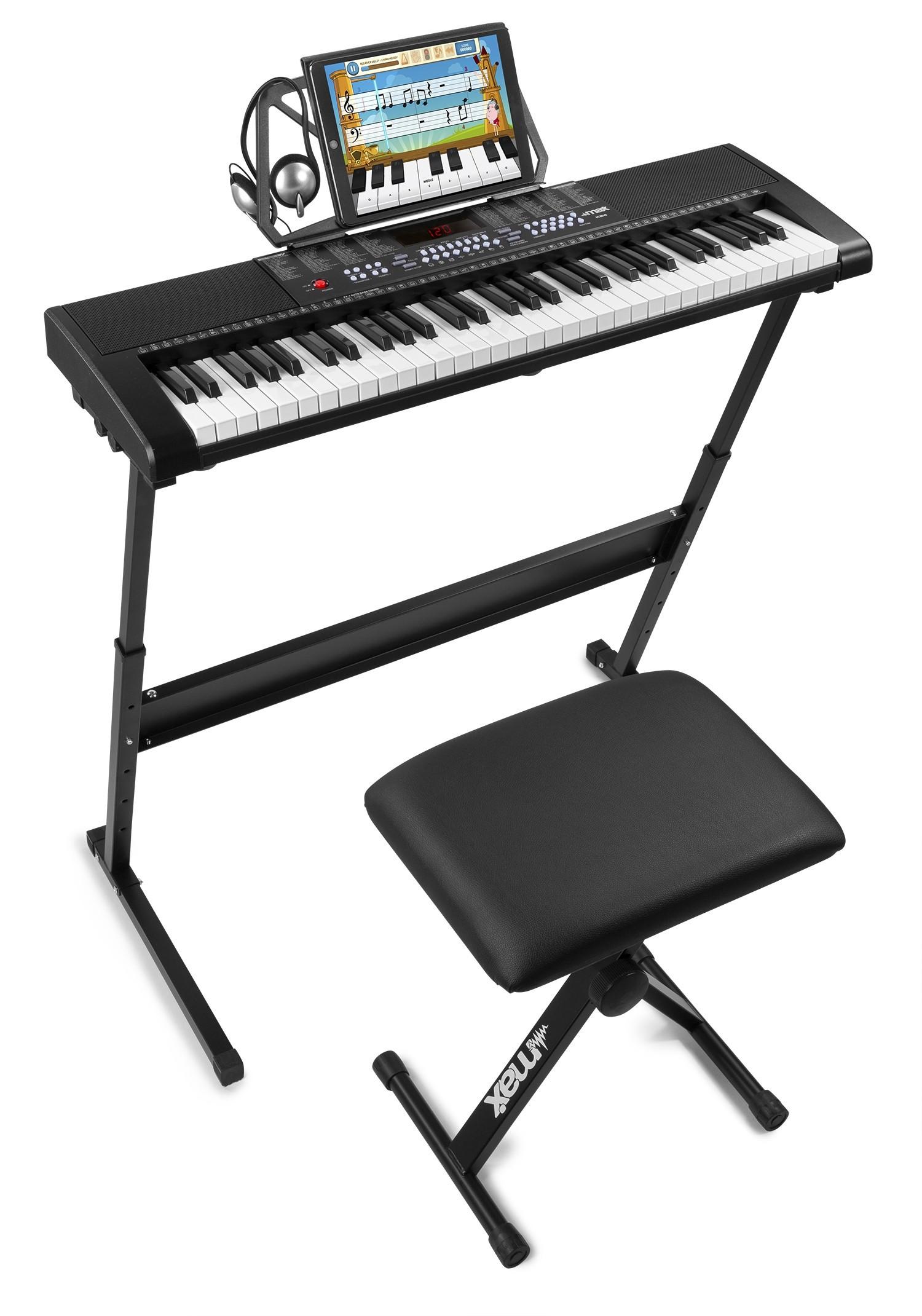 Set claviatură electronică 61 clape + stand + scaun + căști, Max KB4SET