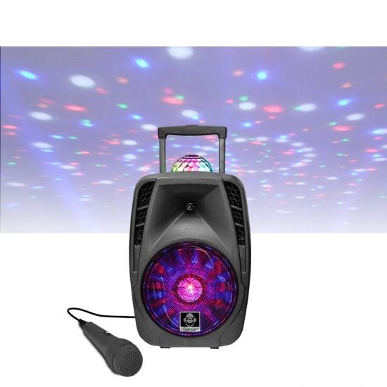 "(RESIGILAT) Idance Boxa portabila Li-Ion 1x microfon cu fir disco ball 8"" Bluetooth / USB 75W RMS"