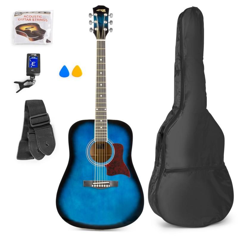 Chitară acustică western, geantă de transport, albastru, MAX SoloJam