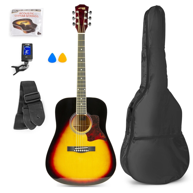Chitară acustică western, geantă de transport, negru/maro, MAX SoloJam