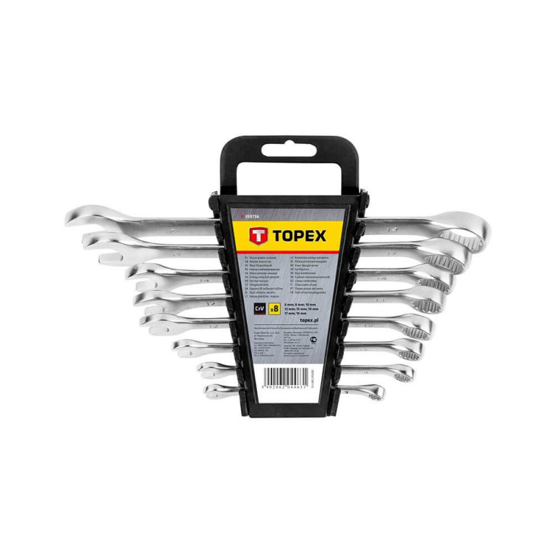 Set chei combinate fixe - inelare 6-19 mm, set 8 buc, Topex