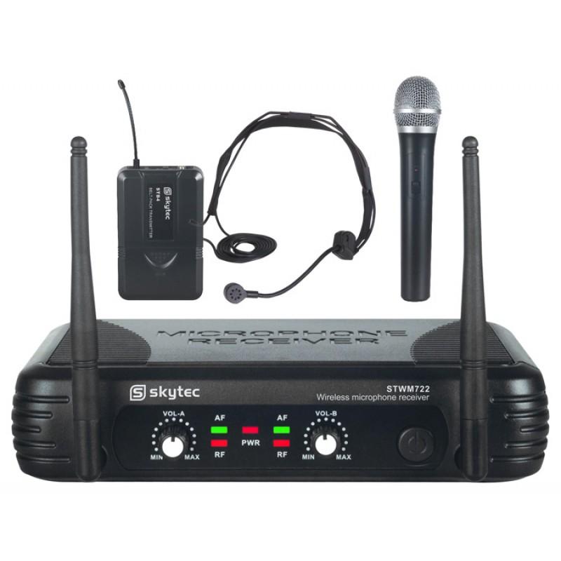 STWM722C Microfon fara fir cu 1x lavaliera si 1 microfon de mana combi UHF skytec